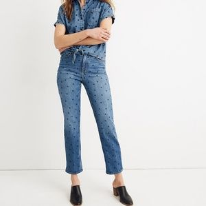 NWT Madewell Classic Straight Jeans Heart Print